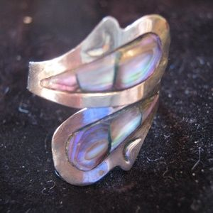 Abalone Sterling Silver Crossover Ring
